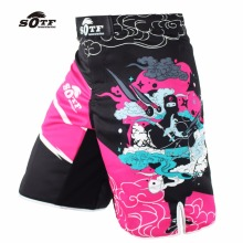 SOTF Pink Ninja breathable cotton boxer shorts mma sports training thai boxing muay thai boxing shorts kickboxing pretorian(China)