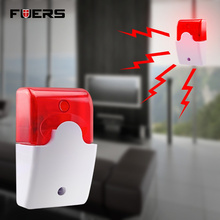 Fuers Wired Strobe Siren Durable 12V Sound Alarm Strobe Flashing Red Light Sound Siren Home Security Alarm System 115dB