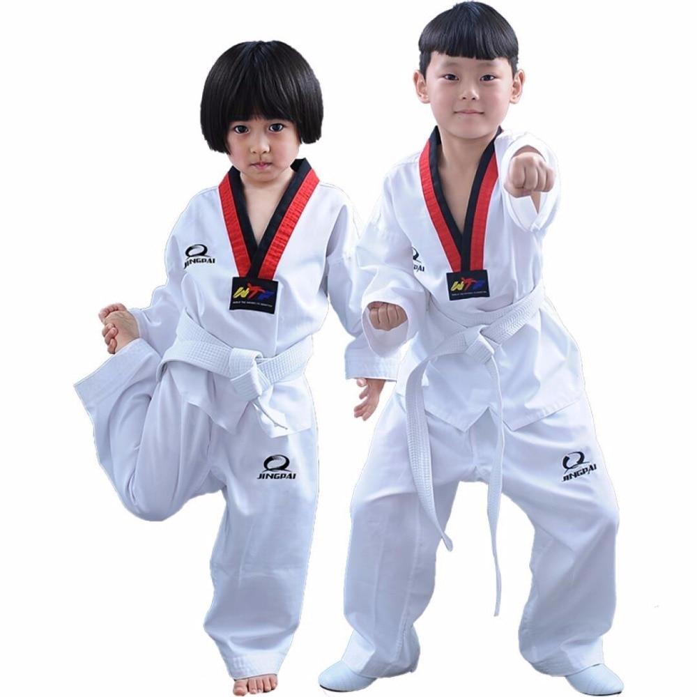 TAEKWONDO KIDS CHILD UNIFORM Suits Dobok Yellow Stripes V-neck Martial Arts TKD