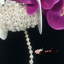 1 yard AAA-Grade Flower Crystal Clear Round Glass Rhinestone Cup Chain Silver Base Dress Belt Trim Applique Sew on Garment