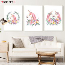Nordic Pink Unicorn With Flower Garland Canvas Painting Posters And Prints Wall Pictures For Kids Room Home Decor No Frame(China)