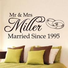 Romantic Wedding Personalised Name Vinyl Wall Sticker Mr and Mrs Art Decal Bedroom Stickers Home Decoration Accessories(China)
