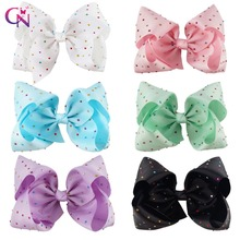 "12 Pieces/lot 7"" Rhinestone Bow With Hair Clip For Girls Kids Large Candy Color Crystal Ribbon Hair Bows Hair Accessories(China)"