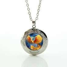 Phoenix necklace fashion golden bird photo glass dome locket pendant elegant Peacock statement necklaces jewelry for women N798(China)