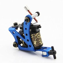 One Custom Aluminum Alloy 10 Wrap Coils Tattoo Machine Gun for Liner Shader Blue
