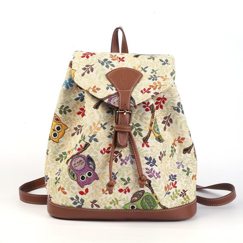 VKYSTAR Women Jacquard Backpack Owl Animal Prints Backpack School Bags For Teenagers Ladies Bag 25X26X12CM Large Capacity 603<br><br>Aliexpress