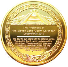 40 * 3 mm 2012 Mayan Prophecy Coin With Reverse of Sunshine Pyramid Aztec Maya Calendar 1 Oz. 24K Gold Plated Coin