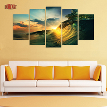 5 Piece Waves Sunset Seaview Picture Painting on Canvas for Wall Art Home Decoration Living Room Canvas Print  Painting Poster