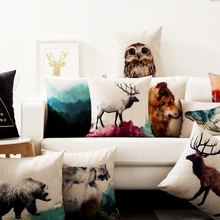 Wholesale Nordic Watercolor Cushion Cover Animals deer and Bear pattern Chair Pillow American Simplicity Cushions Home Decor