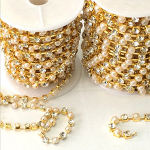 10Meters  (rinestone size 4mm) Silver Plated Metal Crystal Rhinestone Cup Chain