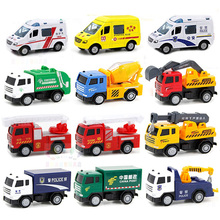 1:60 Alloy car model metallic material police car crane Transporter Fire truck multiple choices Children's toys ornaments