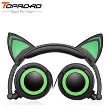 TOPROAD Extendable Glowing Headphone Cute Cat Stereo Headphones 3.5mm Music Game Headset With LED Light For PC Mobile Phone mp3(China)