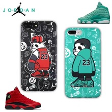 Luxury logo jordan NBA Soft Silicone Case For iphone 7 Case basketball Player full Design Brand Cover for iphone7 6 6s Plus(China)