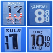 2017 USA MORGAN DEMPSEY LLOYD NAGBE PULISIC HEATH ZUSI SOLO custom football number font print ,stamping Soccer patches badges
