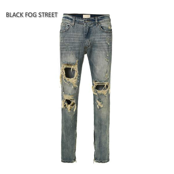 BLACK FOG STREET classics Best version  zippers skinny slim fit mens holes style cotton Denim ripped jeans 6001