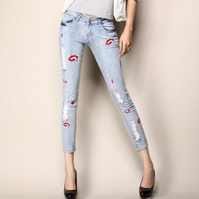 2017fashion women summer tight sexy lips decoration jeans/Women hole package hip slim seven minutes of pants/cowboy pencil pants