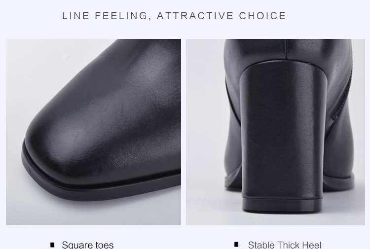 Donna-in elegant square toe high boots genuine leather women boots thick high heel ladies boots inside zipper knee-high boots 15325-7 (5)