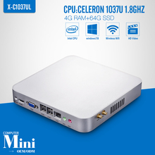 Industrial PC Mini Computer Station Fanless Industrial Celeron C1037U 4G RAM 64G SSD Thin Client Support HD Video