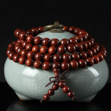 Authentic 108 * 6mm Zambia African Red Sandalwood Prayer Beads Buddhist Mala Buddha Bracelet Rosary Wooden Bangle Jewelry