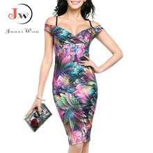 Buy Sexy Tight Bodycon Office Party Sheath Dresses Women Summer Shoulder Floral Print Elegant Vintage Pencil Dress Vestido Robe for $8.62 in AliExpress store