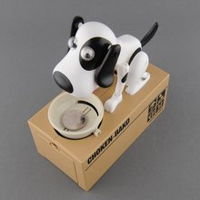 Home Decoration Mechanical Adorable Kid Coin Bank Saving Box Catoon Puppy Hungry Robotic Dog Money Box Collection Piggy Bank