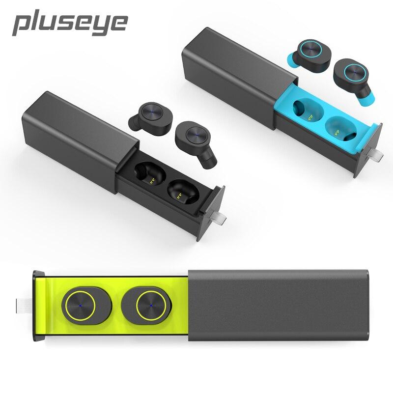 Pluseye TWS  Mini Wireless In-Ear Earphone  Bluetooth 4.2 Double Ear Side Headsets Stereo Music Charger Dock  for iPhone huawei<br>