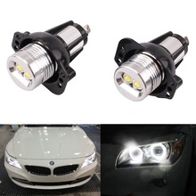 New 2X Xenon White LED 7W Angel Eyes Halo Light Bulb No Error For BMW 3-Series E90 Sedan E91 Wagon 325i 328i 2006-2008 Lamp(China)