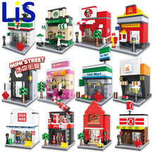Lis HSANHE 6401-6408 /6412-6415 Retail Store Building Block Street Scene Architecture Toys Supermarket Apple Kentucky McDonald's