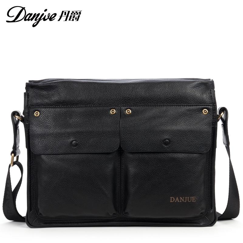 Danjue Hot Casual New Men Briefcase Genuine leather fashion Men shouder bags Business Male Crossbody Bag<br><br>Aliexpress