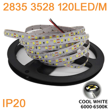 DC12V 5M/Roll 120led/m 600LEDs 3528 2835 SMD IP20 Non-Waterproof Flexible LED Strip Light Cool White Color 6000-6500K(China)
