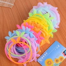 10pcs/lot Sweet Candy Cute Rabbit Ears Rubber Bands Silicone Night Luminous And Solid Color Girl Women Bracelet Accessories(China)