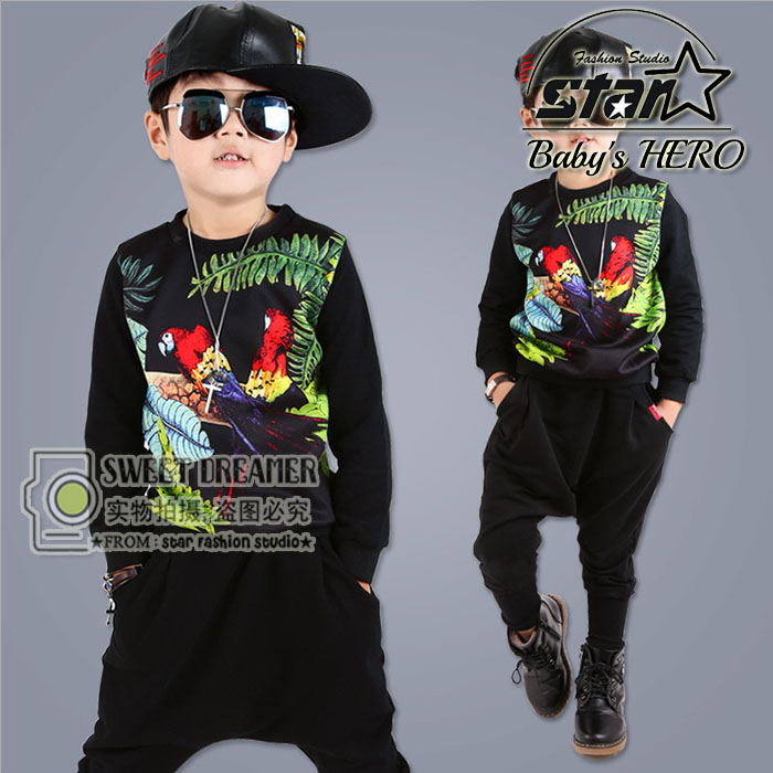 Fashion Spring Childrens Clothing Set Streetwear Costumes Parrot Printing kids Sport Suits Hip Hop Harem Pants &amp; Sweatshirt <br>