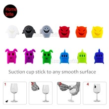 Set Of 12 Silicone Suction Glass Markers For Halloween Bottle Identifier Party Suppiles Tools K209