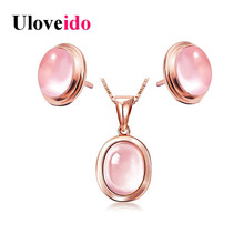 Uloveido Rose Gold Color Necklaces & Pendants Maxi Neckalce and Earrings Bridal Jewelry Set Pink Simulated Opal Wedding WHB97(China)