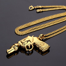 Hip Hop Men 24k Gold Bling Machine pistol Gun Pendants Necklace Rapper bad girl Roscoe gun Shape Jewelry For Gifts(China)