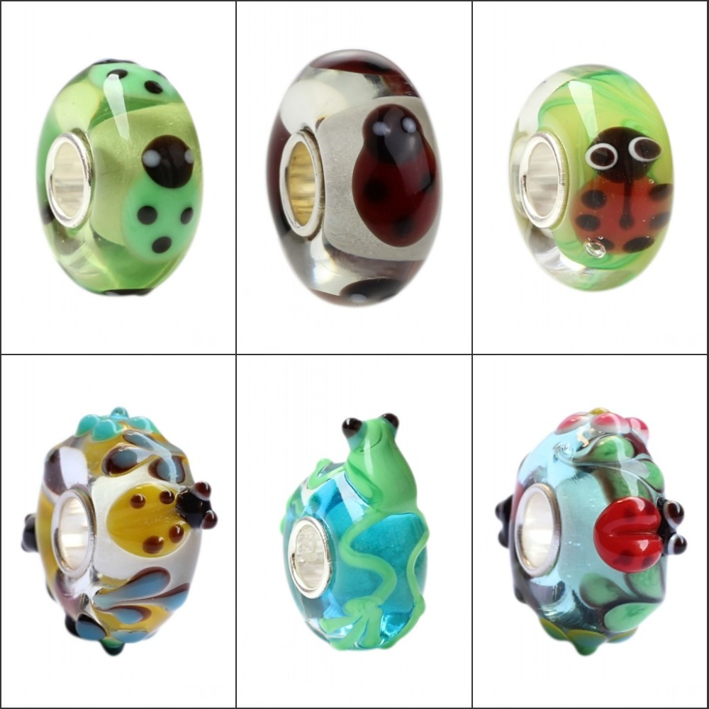 925 Sterling Silver Large Hole 3D Colorful Flowers Frog Ladybugs Murano Glass Charm Beads Fit European Brand Bracelet Jewelry