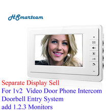 "Separate Display Sell For Home Security Wired 7"" Video Door Phone Intercom Doorbell Entry System 1 Monitors add Power adapter"