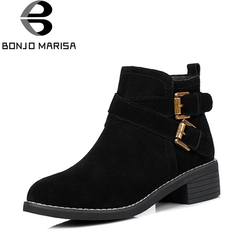 2018 Fashion Street Style Large Size 34-40 High Heels Round Toe Woman Shoes Slip On Women Ankle Boots Buckles Autumn Winter<br>
