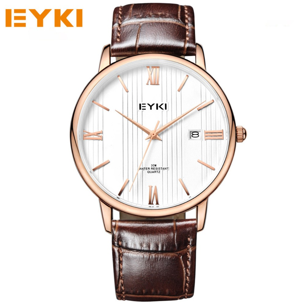EYKI Luxury Brand Lovers Watches Quartz Wristwatches Leather Strap Waterproof Watches Casual Business Couples Clocks Reloj.<br>