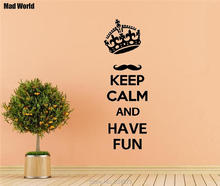 Mad World-Keep calm and have fun Quote Wall Art Stickers Wall Decal Home DIY Decoration Removable Room Decor Wall Stickers()