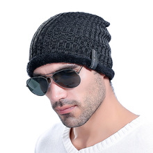 New wool hat men's autumn and winter outdoor plus velvet knit hat manufacturers wholesale(China)