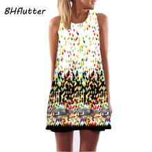 BHflutter Women Dresses Digital Print Summer Dress 2017 New Fashion Boho Style Beach dress Dashiki Hippie Dress Mini Vestidos(China)