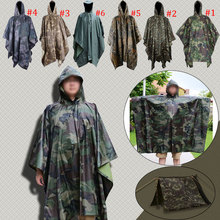 Multifunction Military Waterproof Camo Raincoat Rain Coat Men Women Raining Poncho for Camping Fishing Motorcycle E2S(China)
