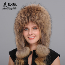 Women Genuine Fox Fur Hats Caps Female Bomber Hat Trendy Lei feng Hat for Russian Women Real Fox Raccoon Fur Hat Tops Winter(China)