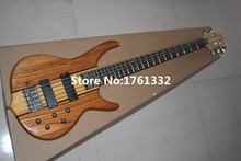 Hot sale factory custom 24 frets 5 strings natural wood color electric bass guitar with neck-thru-body,can be changed as request