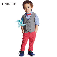2017 fashion baby boys clothes set cotton bow tie shirt +red long pant +vest clothes suit boys 3pcs clothing set kids clothes(China)