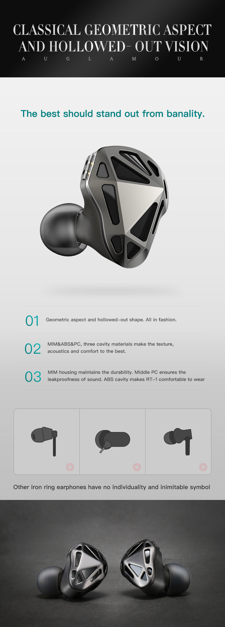 AUGLAMOUR RT1 In Ear HIFI Earphone Bluetooth Ear Hook Metal Earbud DIY Earplugs Dynamic Stereo Music MMXC 2-Pin Detachable Cable