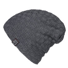 Men's Plaid Fleece Lined Thermal Winter Knitted Hats Oversized Baggy Slouchy Beanies Skullies Navy Black Beige Dark Gray Red Cap(China)