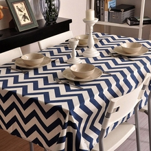 Pastoral art explosion models cotton linen tablecloths Blue wavy table cloth tablecloth Table Covers for Wedding Party Home