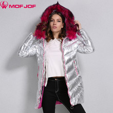 Winter Jacket Women silver fabric whit Rose-carmine Faux fur Hooded thick Outerwear Bright metallic color warm parkas mofjof(China)